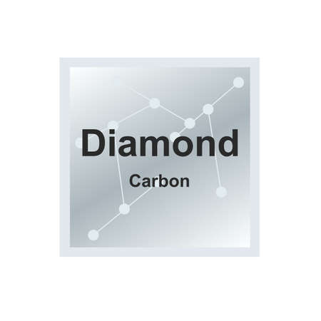 Vector symbol of diamond mineral - a crystalline form of carbon from the Mohs scale of mineral hardness on the background from connected molecules. The symbol is isolated on a white background.