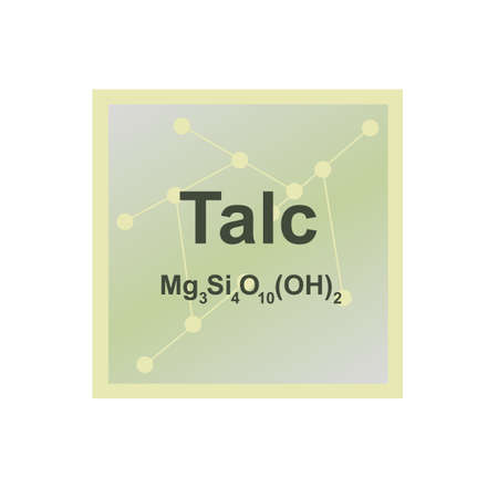 Vector symbol of Talc or Talcum from the Mohs scale of mineral hardness on the background from connected molecules. The icon is isolated on a white background.