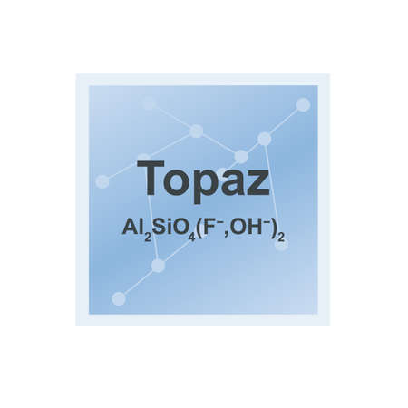 Vector symbol of Topaz silicate mineral from the Mohs scale of mineral hardness on the background from connected molecules. The icon is isolated on a white background. Vektoros illusztráció