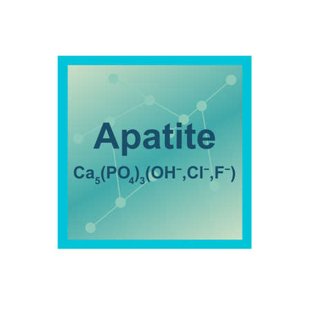 Vector symbol of Apatite mineral from the Mohs scale of mineral hardness on the background from connected molecules. The icon is isolated on a white background.