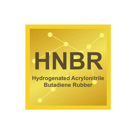 Vector symbol of Hydrogenated Acrylonitrile Butadiene Rubber (HNBR) polymer on the background from connected macromolecules. The icon is isolated on a white background.