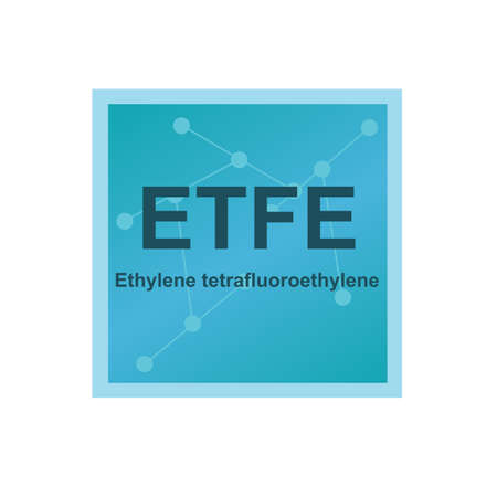 Vector symbol of Ethylene tetrafluoroethylene (ETFE) polymer on the background from connected macromolecules. The icon of fluorine-based plastic is isolated on a white background.