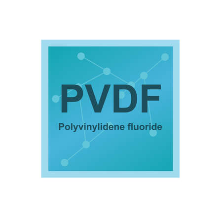 Vector symbol of Polyvinylidene fluoride   polymer, thermoplastic fluoropolymer on the background from connected macromolecules. The icon is isolated on a white background.