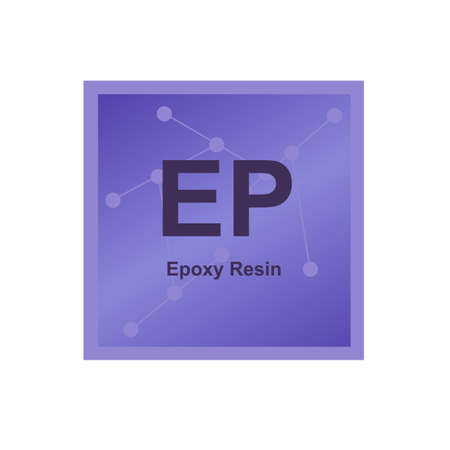 Vector symbol of Epoxy Resin (EP) or polyepoxide polymer on the background from connected macromolecules. Cross-linked thermosetting polymer, thermoset. The icon is isolated on a white background. Stock Illustratie