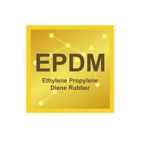 Vector symbol of ethylene propylene diene rubber (EPDM) polymer on the background from connected macromolecules isolated on white. Synthetic rubber, elastomer crosslinked via sulfur vulcanization. Stock Illustratie