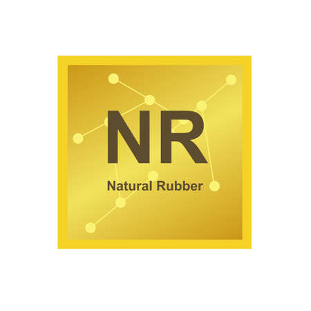 Vector symbol of Natural Rubber (NR) polymer, which consists of isoprene on the background from connected macromolecules. The icon is isolated on a white background. Stock Illustratie