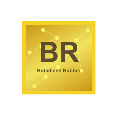 Vector symbol of Butadiene Rubber or Polybutadiene (BR) polymer on the background from connected macromolecules. poly (buta-1,3-diene), synthetic rubber. The icon is isolated on a white background.
