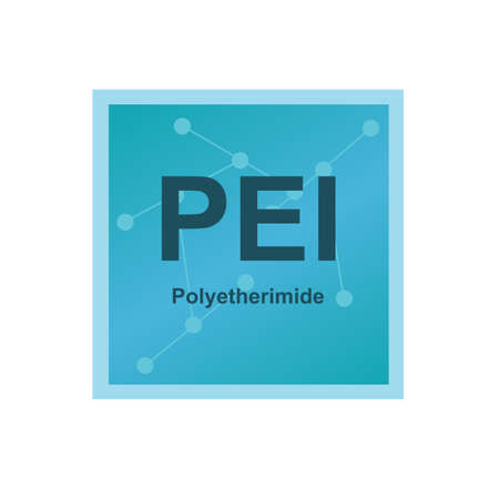Vector symbol of Polyetherimide (PEI) polymer on the background from connected macromolecules. Thermoplastic HiTech polymer similar to the PEEK. The icon is isolated on a white background.