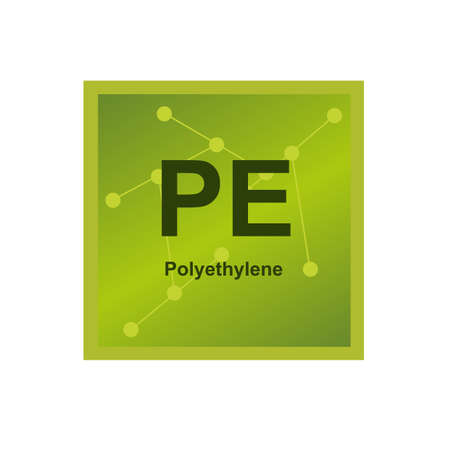 Vector symbol of Polyethylene (PE) thermoplastic polymer on the background from connected macromolecules. The icon is isolated on a white background.