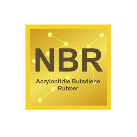 Vector symbol of Acrylonitrile butadiene rubber (NBR) polymer on white.