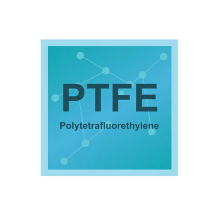 Vector symbol of Polytetrafluoroethylene or Teflon (PTFE) polymer on the background from connected macromolecules. The icon of the synthetic fluoropolymer is isolated on a white background.