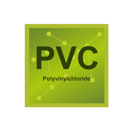 Vector symbol of Polyvinylchloride (PVC) polymer on the background from connected macromolecules. Icon of polyvinyl or vinyl - synthetic thermoplastic polymer isolated on a white background.