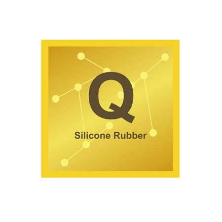 Vector symbol of Silicone rubber (Q) polymer on the background from connected macromolecules. Cured or vulcanized elastomer widely used in industry. The icon is isolated on a white background.