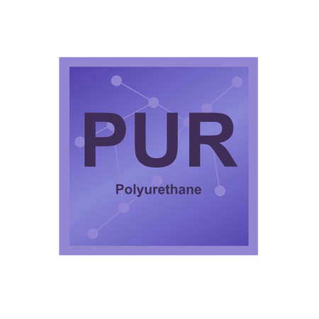 Vector symbol of Polyurethane (PUR) polymer on the background from connected macromolecules. Thermosetting polymer, thermoset made from carbamate or urethane. The icon is isolated on a white background.