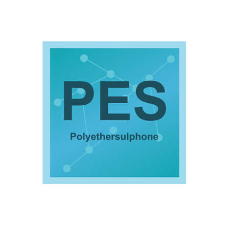 Vector symbol of Polyethersulphone (PES) polymer which belongs to the family of polysulfones, high-performance thermoplastics on the background from connected macromolecules isolated on white.