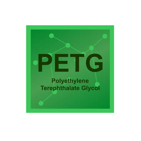 Vector symbol of Polyethylene Terephthalate Glycol (PETG) polymer on the background from connected macromolecules. The thermoplastic polymer used in 3D printing. The icon is isolated on white.