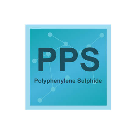 Vector symbol of Polyphenylene Sulphide (PPS) polymer on the background from connected macromolecules. Synthetic heat-resistant thermoplastic polymer. The icon is isolated on a white background.