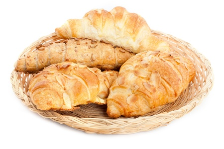 ¨Fresh and tasty croissant over white background
