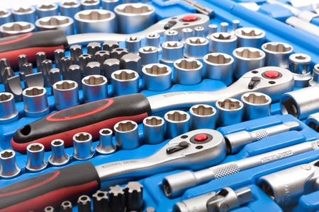 car workshop: Socket wrench toolbox  Stock Photo