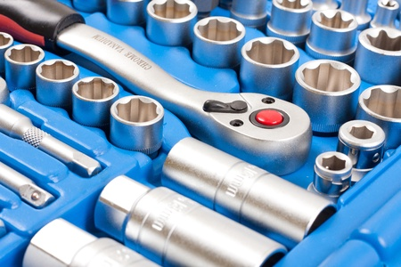 toolkit: Socket wrench toolbox  Stock Photo