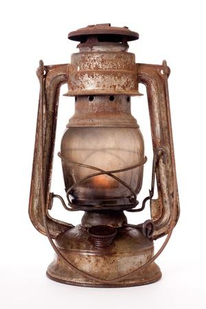 kerosene: Old kerosene lantern burning with bright flame