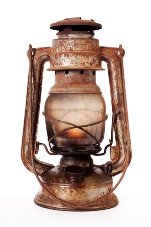 kerosene lamp: Old kerosene lantern burning with bright flame