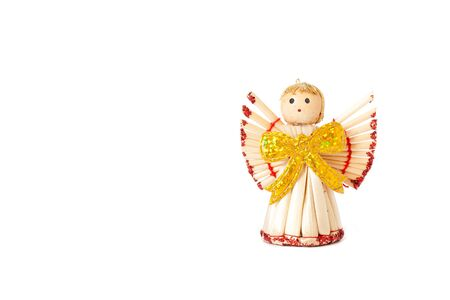 Handmade christmas decoration angel from straw, traditional Czech  photo