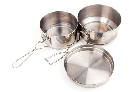 Camping Pot, Spork, Cup and Frying Pan Cookware for Mountain Camping photo