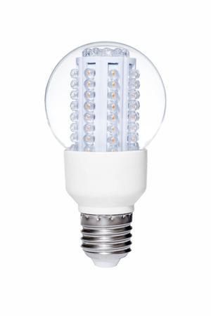 Ampoule LED s'allume isol�e de fond blanc Banque d'images