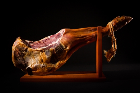 Jamon serrano  A Spanish ham on black