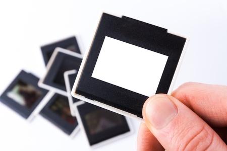 Photo Slide cadre 35 mm sur fond blanc