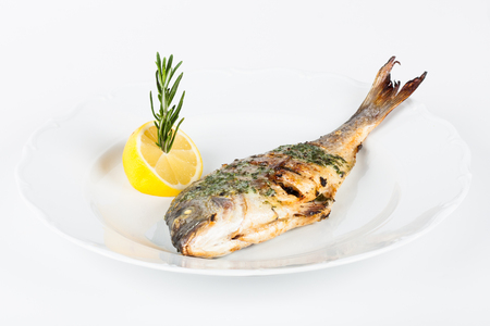 grilled tilapia on white plate with lemon photo