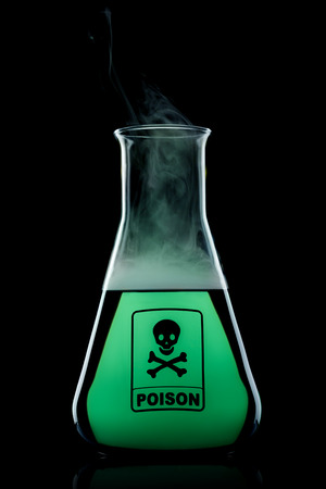 poison bottle: Poison flask with color liquid to the black background
