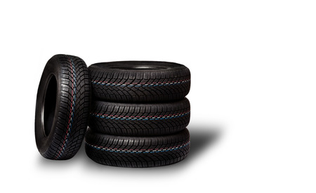 winter tires: Car tires. Winter wheel profile structure on white background