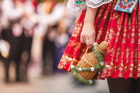 Czech woman costume 스톡 콘텐츠