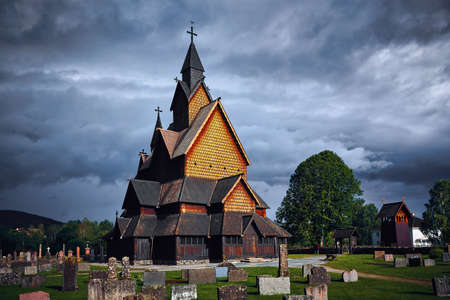 Mystical place, Heddal stave church, Norway. Largest stave church in Norway. Heddal Stavkirke in Notodden, beautifull turistic place.