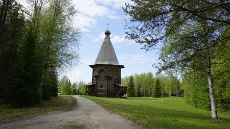 clearing the path: Old wooden Orthodox Church