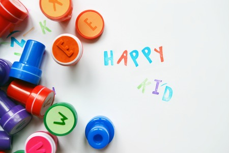 free time: Favourite colored alphabet stamps for children for free time Stock Photo