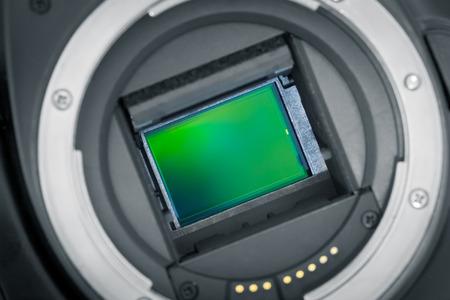 sensor: Exposed APS-C image sensor, mirror lifted up.