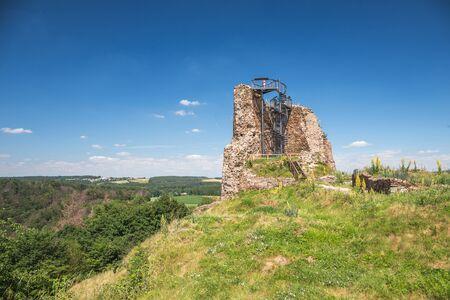 Ruins of gothic medieval castle Lichnice, Iron Mountains, Pardubice region, Czech republic. Castle ruins.