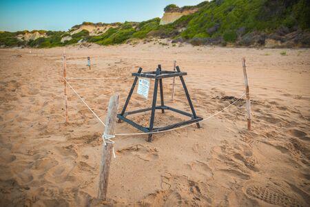 Loggerhead sea turtle nesting site. Special constructions protected turtles egg on Gerakas - very popular between tourists Zakynthos Island beach. Reklamní fotografie
