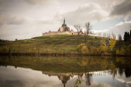 View on church with lake. sight Church of st. John Nepomuk - Zelena hora, in town Zdar nad Sazavou, Czech republic