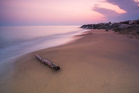 Wood branch on a sandy beach on twilight sunset time. Long Exposure Photography - rocks and sea in the background.