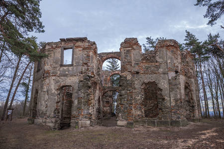 Ruins of Belvedere Summer Palace A Chapel of Sts. John the Baptist in Czech republic on a hill Vysoka.