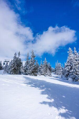 Montagnes de Krkonose couvertes de neige, arbres gelés. Le plus haut sommet Snezka en arrière-plan. Ciel bleu avec des nuages blancs en journée ensoleillée en mars. Banque d'images