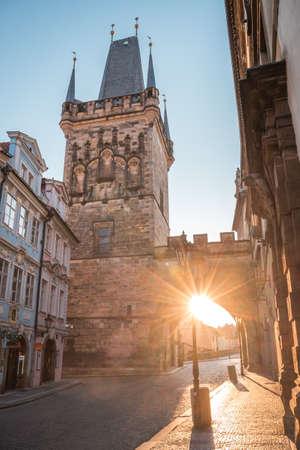 Charles bridge at sunrise, Old Town bridge tower, Prague  , Czech republic, Europe - Old town