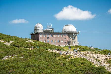 TATRANSKA LOMNICA, SLOVAKIA, AUGUST 2020 - View of the observatory on Skalnate Pleso lake, High Tatras, Slovakia Editorial