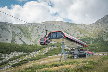 TATRANSKA LOMNICA, SLOVAKIA, AUGUST 2020 - A cableway station at mountain lake Skalnate Pleso in High Tatras