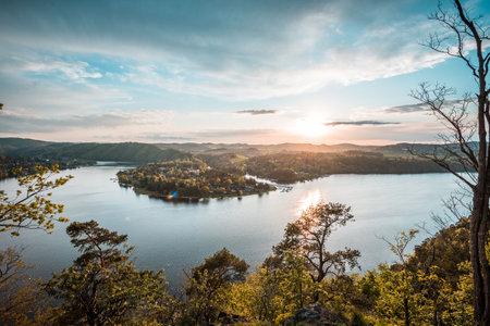 Slapy dam on Vltava river. Water reservoir and famous tourist place in Czech republic, European Union. Summer sunset. Standard-Bild