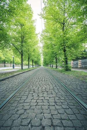 Tramway rails with cobblestone in Prague, Czech republic in spring